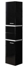 Шкаф-колонна Акватон Турин черный с белыми панелями