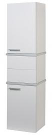 Шкаф-колонна Акватон Турин белый с серебристыми панелями