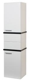 Шкаф-колонна Акватон Турин белый с черными панелями