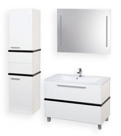 Мебель для ванной Акватон Турин 100 белая с черной панелью