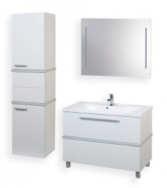 Мебель для ванной Акватон Турин 100 белая с серебристой панелью