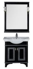 Мебель для ванной Aquanet Валенса 80 черная краколет/серебро