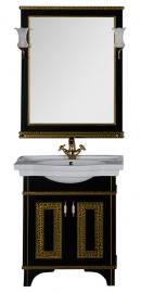 Мебель для ванной Aquanet Валенса 80 черная краколет/золото
