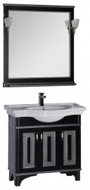 Мебель для ванной Aquanet Валенса 90 черная краколет/серебро