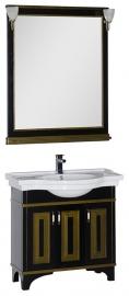 Мебель для ванной Aquanet Валенса 90 черная краколет/золото