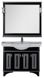 Мебель для ванной Aquanet Валенса 110 черная краколет/серебро