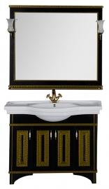 Мебель для ванной Aquanet Валенса 110 черная краколет/золото