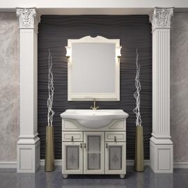 Мебель для ванной Opadiris Тибет 80 слоновая кость/стекло
