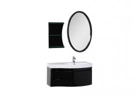 Мебель для ванной Aquanet Опера 115 черная с ящиком правая