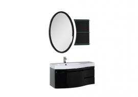 Мебель для ванной Aquanet Опера 115 черная с ящиком левая