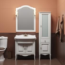 Мебель для ванной Opadiris Лоренцо 80 белая/бежевая патина