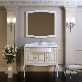 Мебель для ванной Opadiris Лаура 120 литьевой мрамор белая/патина