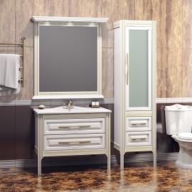 Мебель для ванной Opadiris Корлеоне 80 белая/золотая патина