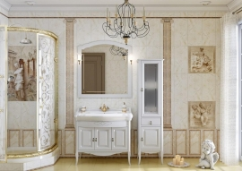 Мебель для ванной Opadiris Лоренцо 100 белая/бежевая патина