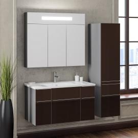 Мебель для ванной Smile Кристалл 90 титан/коричневая