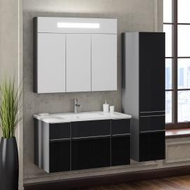 Мебель для ванной Smile Кристалл 90 титан/черная