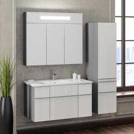 Мебель для ванной Smile Кристалл 90 титан/белая